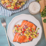 Honey Beer Glazed Salmon with Mango Avocado Salsa