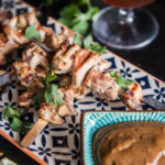 Beer Chicken Satay with Almond Stout Dipping Sauce