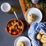 Rosemary Olive Oil Beer Biscuits with Tomato Garlic Confit
