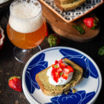 Matcha Beer Pound Cake with Strawberries, Mint Whipped Cream