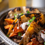 Crispy Sweet Potato and Mushroom Confit Tacos with Smoky Crema