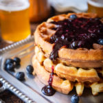 Overnight Yeasted Beer Waffles with Blueberry Syrup