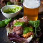 Beer Brined Lamb Chops with Herb Sauce over Fried Goat Cheese