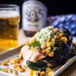 Triple cheese, Chicken and Elote Stuffed Charred Poblano with Lager Avocado Sauce